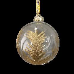 Boule suspension en verre 8cm transparente et or