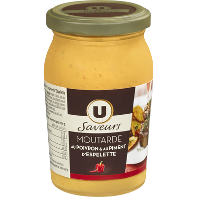 Moutarde au poivron et au piment d'Espelette U SAVEURS, bocal de 210g