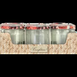 Pots à confiture avec couvercle décoré, 324ml, 6 unités