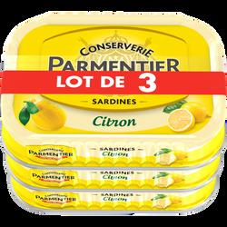 Sardine huile tournesol et citron PARMENTIER lot de 3 135g