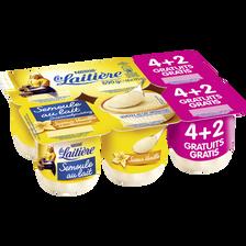 Semoule au lait saveur vanille LA LAITIERE, 4 pots de 115g + 2 pots offerts