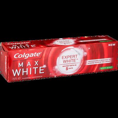 Dentifrice COLGATE max white expert soft mint, tube de 75ml