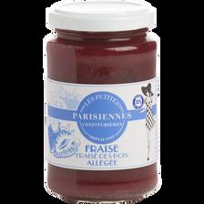 Confiture allégée fraise et fraise des bois LES PETITES PARISIENNES, pot de 265g