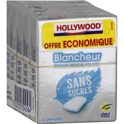 Chewing-gum blancheur menthe polaire sans sucres HOLLYWOOD, x5