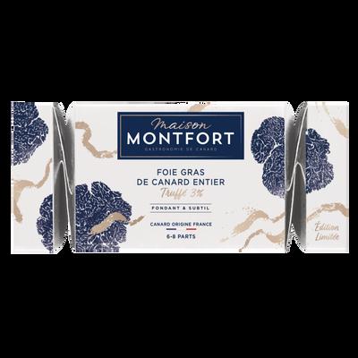 Foie gras de canard entier truffe 3% MAISON MONTFORT, barquette de 250g