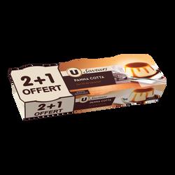 Panna Cotta au caramel Saveurs U,  2x120g + 1 offert
