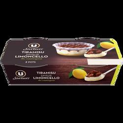 Dessert pâtissier au mascarpone saveurs limoncello et citron avec préparation aux citrons aromatisés 22% et génoise saupoudré de cacao U SAVEURS 2x100g