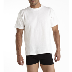 TEE-SHIRTS COL ROND MANCHES COURTES MARQUE BLANCHE  X2