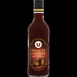 Vinaigre de vin rouge affiné en fût de chêne 7° U, bouteille en verrede 75cl