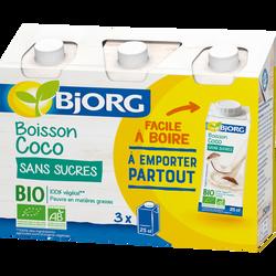 Boisson lait de coco sans sucres bio BJORG, brique 3x251ml