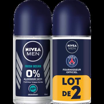 Nivea Déodorant Fresh Ocean 0% Nivea Men, 2 Billes De 50ml