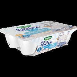 Mini lactés nature sans sucres ajoutés BLEDINA, de 6 à 36 mois, 6x55g