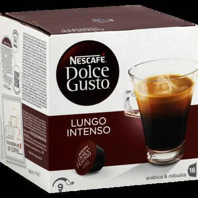 Café en capsules Lungo Intenso NESCAFE DOLCE GUSTO, 16 unités soit 144g
