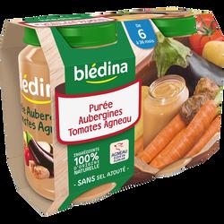 Pots pour bébé salés purée d'aubergines, tomate et agneau BLEDINA, dès6 mois, 2x200g
