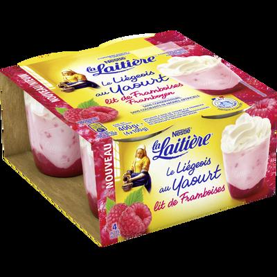Liégeois au yaourt sur lit de framboise LA LAITIERE, 4x100g