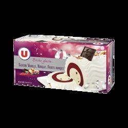 Bûche glacée parfum vanille, nougat, fruits rouges U, 548g