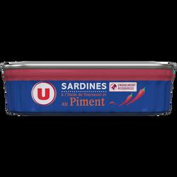 Sardines à l'huile de tournesol et au piment U, boîte de 1/5, 135g