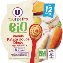 Assiette panais patate douce U TOUT PETITS BIO 12mois 230g