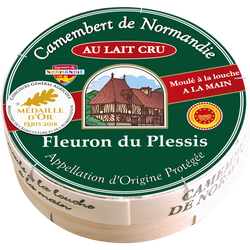 Camembert AOC de Normandie au lait cru FLEURON DU PLESSIS, 20% de MG,250g