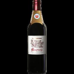Vin rouge AOP Minervois les pluviers U, 75cl