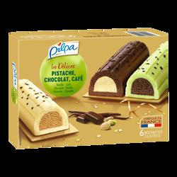 Bûchettes glacées vanille-café pistache-chocolat chocolat-vanille PILPA, x6 soit 348g