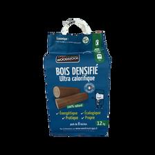 Bûches bois densifié WOODSTOCK, 100% naturel haute performance, 8 unités