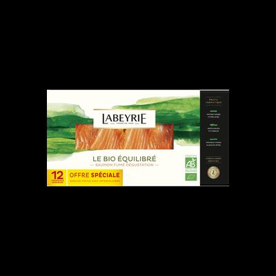 Saumon Atlantique bio fumé au bois de hêtre LABEYRIE, plateau dégustation de 12 tranches soit 380g