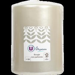 Bougie cylindrique U MAISON 78x110mm blanc nacré