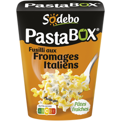 Pasta Box fusilli aux fromages Italiens SODEBO, 300g