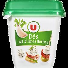 Spécialité fromagère au lait pasteurisé dés de salade ail et fines herbes U, 32% de MG, 120g