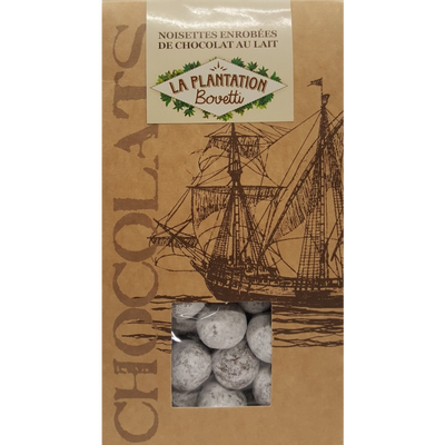 Noisettes enrobées de chocolat au lait, LA PLANTATION BOVETTI, sachetde 120g
