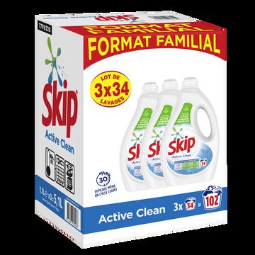 Skip Lessive Liquide Active Clean Skip 3x1,7 Litres Soit 102 Lavages
