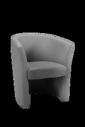Fauteuil cabriolet 63,5x62,5x76cm en armature en pin et hêtre renforcée de panneaux de particules-revêtement enpolychlorure de vinyle gris sur mousse-4 pieds
