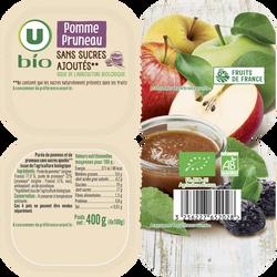Purée pomme pruneau sans sucre ajoutés U BIO 4 coupelles de 100g