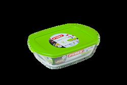Plat rectangulaire PYREX COOK & STORE 23x15cm vert-avec couvercle