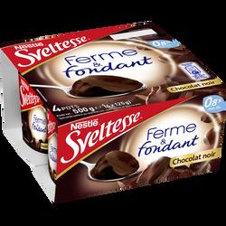Spécialité laitière sucrée saveur chocolat noir Ferme & fondant SVELTESSE, 0,8% de MG, 4x125g