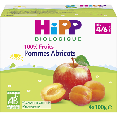 Compote infantile bio 100% Fruits pomme abricot HIPP, dès 4 mois, 4x100g