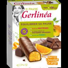 Barres repas minceur hyperprotéiné chocolat et orange GERLINEA, 12 unités soit 372g