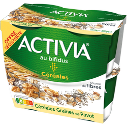 Spécialité laitière sucrée saveur noix ACTIVIA 4x120g offre découverte