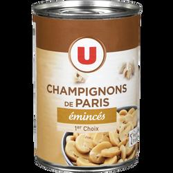 Champignons de Paris émincés 1er choix U, boîte de 1/2, 230g