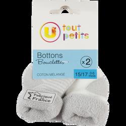 BOTTONS BOUCLETTES LAYETTE FANTAISIES U TOUT PETITS   X2