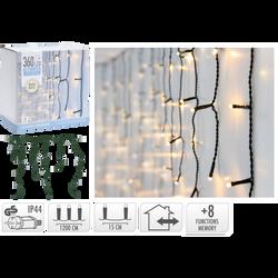 Guirlande lumineuse d'extérieur rideau de stalactites 360 LED Blanc chaud