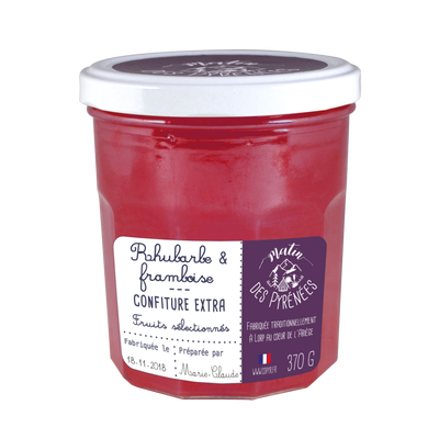 Confiture extra rhubarbe framboise MATIN DES PYRENEES, 370g