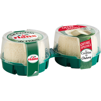 Crottin de chèvre lait pasteurisé RIANS, 23% de MG, 2x60g