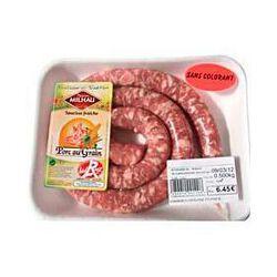 Saucisse fraîche pur porc Label Rouge MAISON MILHAU, 500g