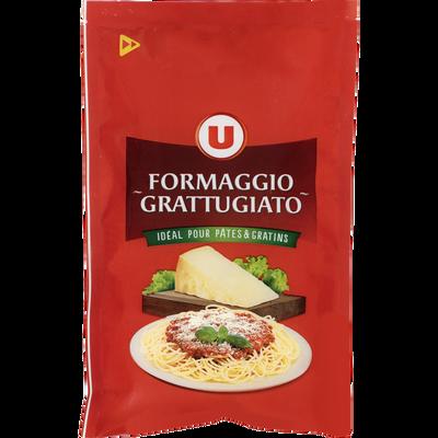 Mélange de fromages à pâte dure râpés, formaggio grattugiato au lait cru et thermisé U, 29% de mg, 100g