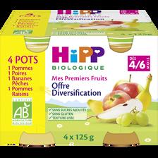 Mes premiers fruits (pommes/poires/bananes pêches/pommes raisins) biodès 4/6 mois HIPP, 4x125g