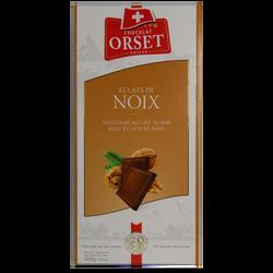 Tablette de chocolat au lait et éclats de noix ORSET, 100g