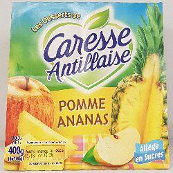 Compote pomme ananas allégée en sucres,CARESSE ANTILLAISE ,4x100g