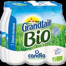 Lait UHT 1/2 écrémé biologique GRANDLAIT, 6x1 litre